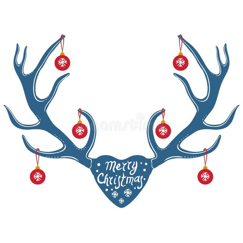 Weihnachtsrengeweihe lokalisiert auf schwarzem Hintergrund lizenzfreie abbildung