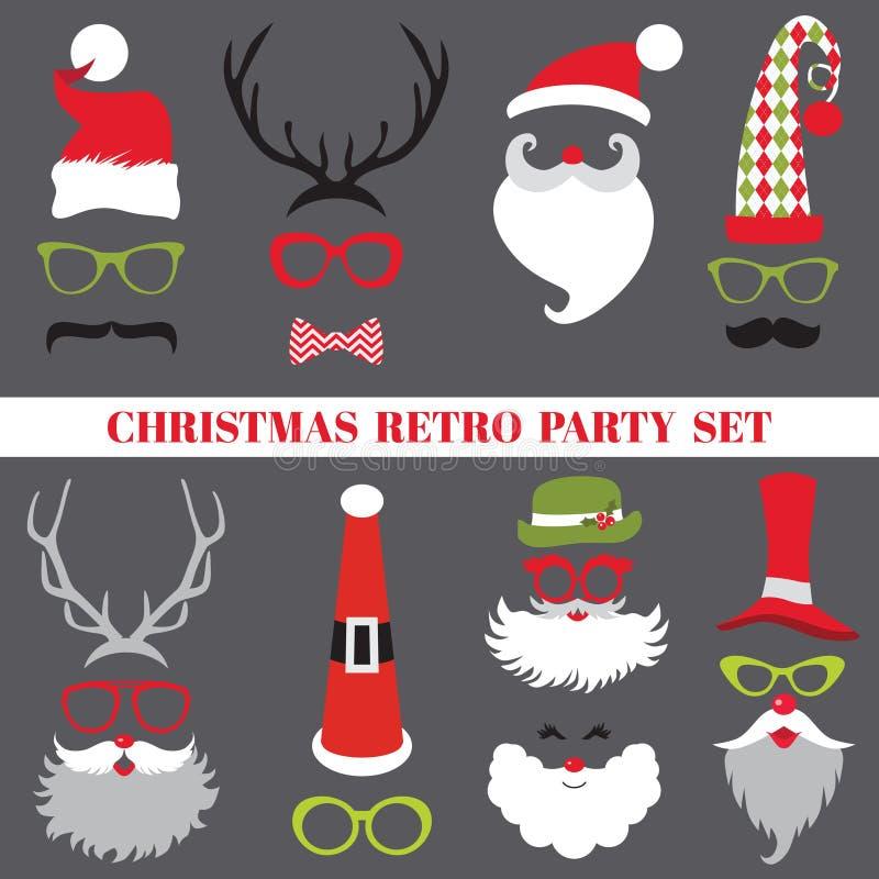 Weihnachtsretro- Parteisatz lizenzfreie abbildung