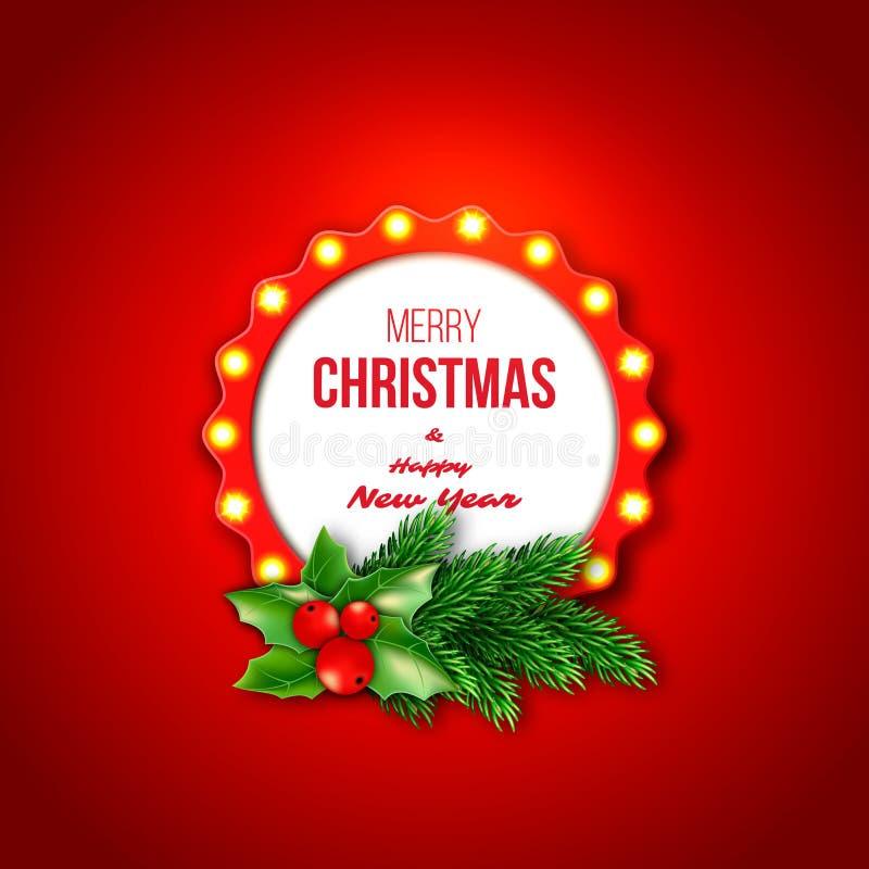 Weihnachtsretro- Rahmen mit realistischen glühenden Lichtern, Tanne branche vektor abbildung