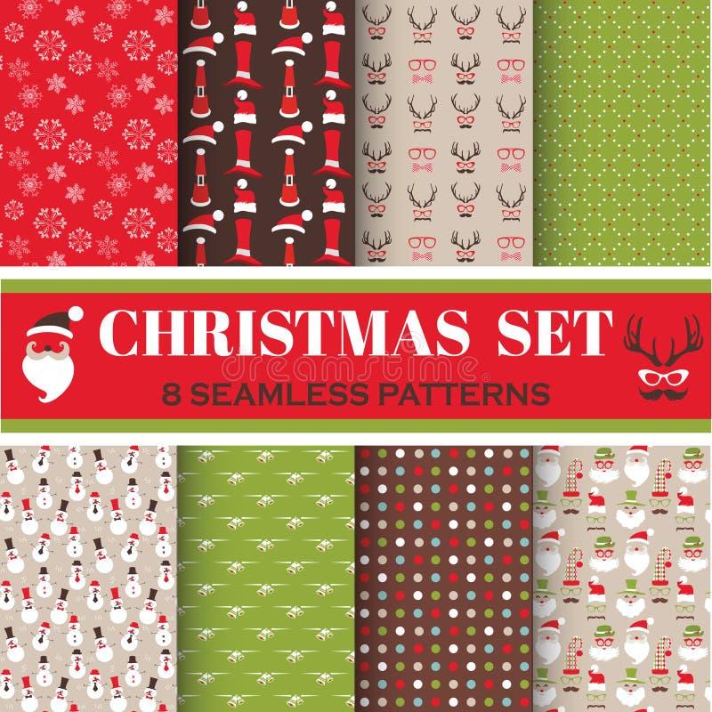 Weihnachtsretro- Satz - 8 nahtlose Muster stock abbildung
