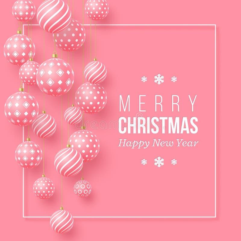 Weihnachtsrosa Flitter mit geometrischem Muster realistische Art 3d mit weißem Rahmen, abstrakter Feiertagshintergrund, Vektor stock abbildung