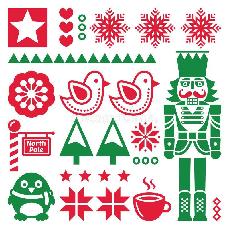 Weihnachtsrot und Muster mit Nussknacker - Volkskunstart stock abbildung