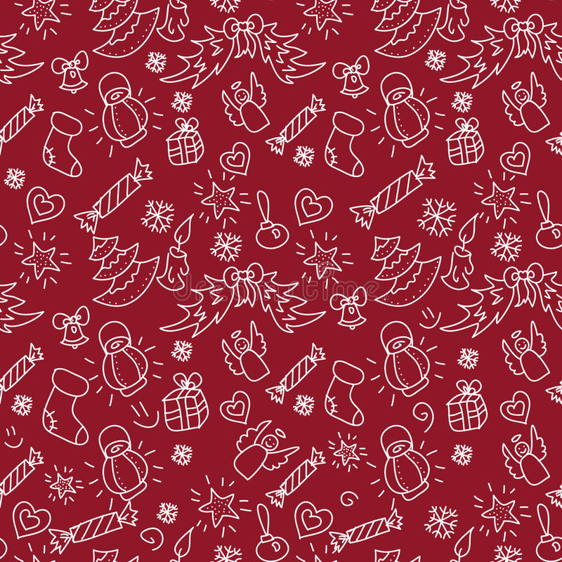 Weihnachtsrote Hintergrundhand gezeichnet stockfotografie