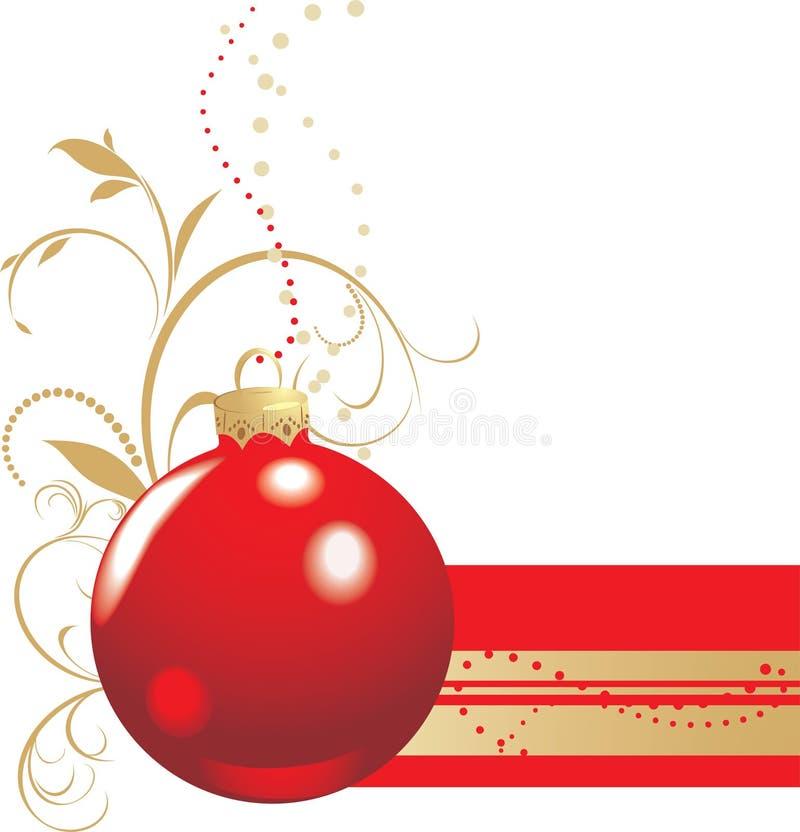 Weihnachtsrote Kugel mit Verzierung. Fahne stock abbildung