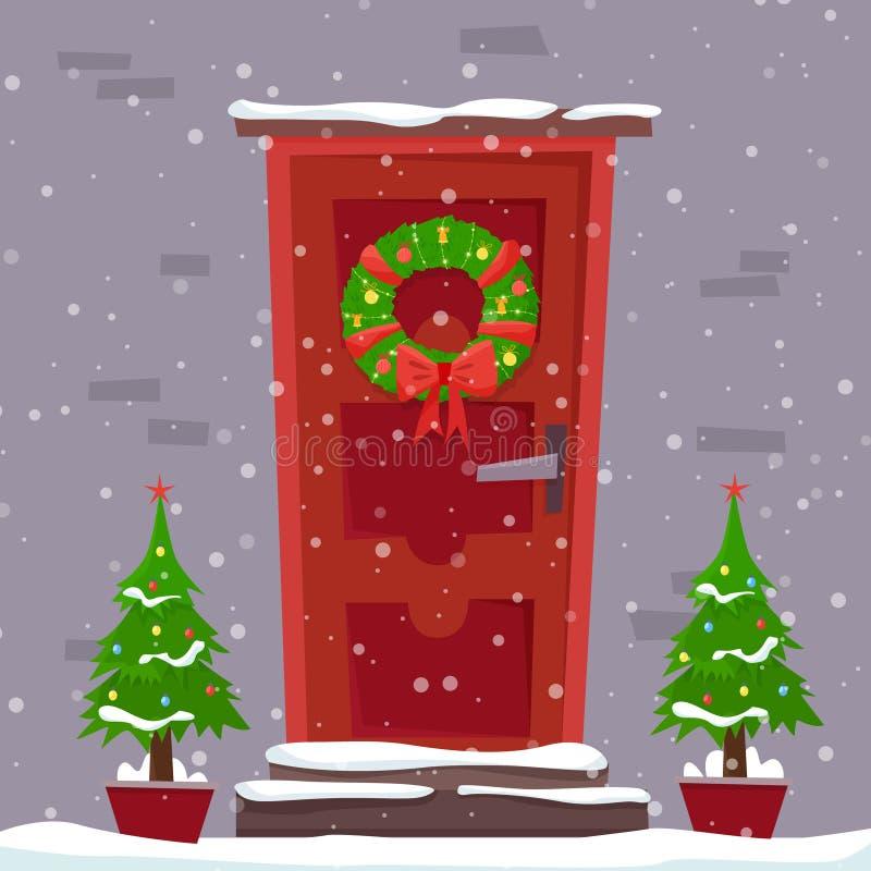 Weihnachtsrote Tür mit Kranz, Schnee und Tanne lizenzfreie abbildung