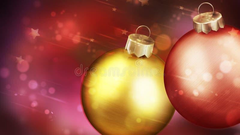 Weihnachtsroter abstrakter Hintergrund mit Nahaufnahme von zwei Bällen. lizenzfreie abbildung