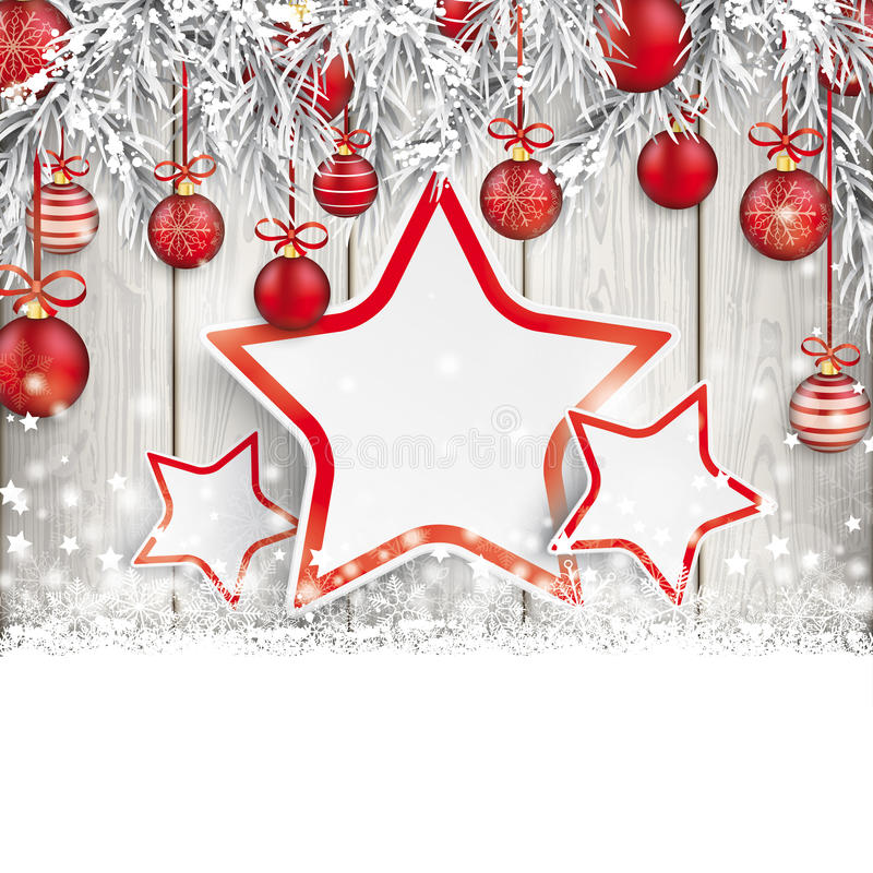 Weihnachtsroter Flitter gefrorenes Zweig-Schnee-Holz 3 Sterne vektor abbildung