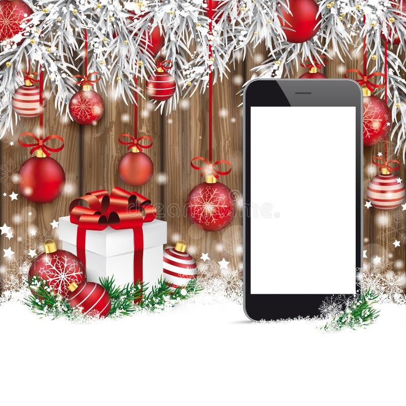 Weihnachtsroter Flitter gefrorenes Zweig-Schnee-Smartphone getragenes Holz vektor abbildung