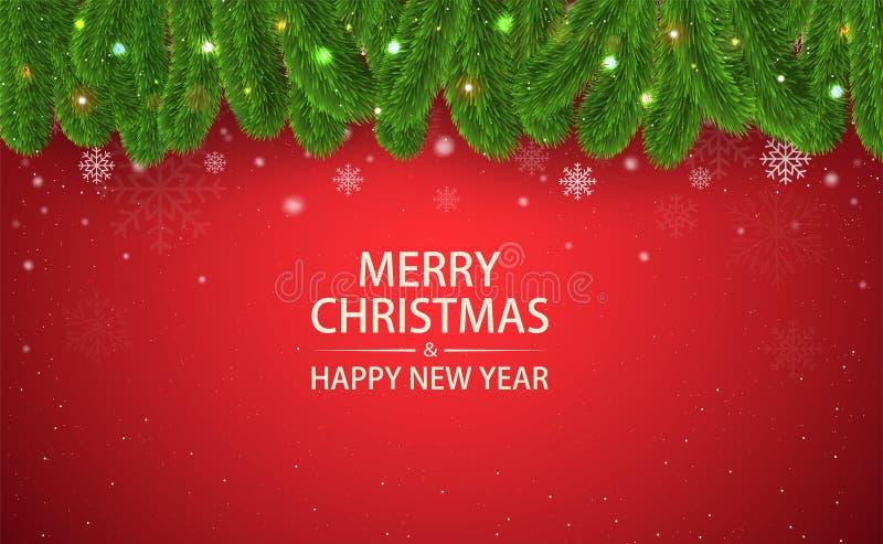 Weihnachtsroter Hintergrund mit Tannenzweigen, Schneeschneeflocken und vektor abbildung