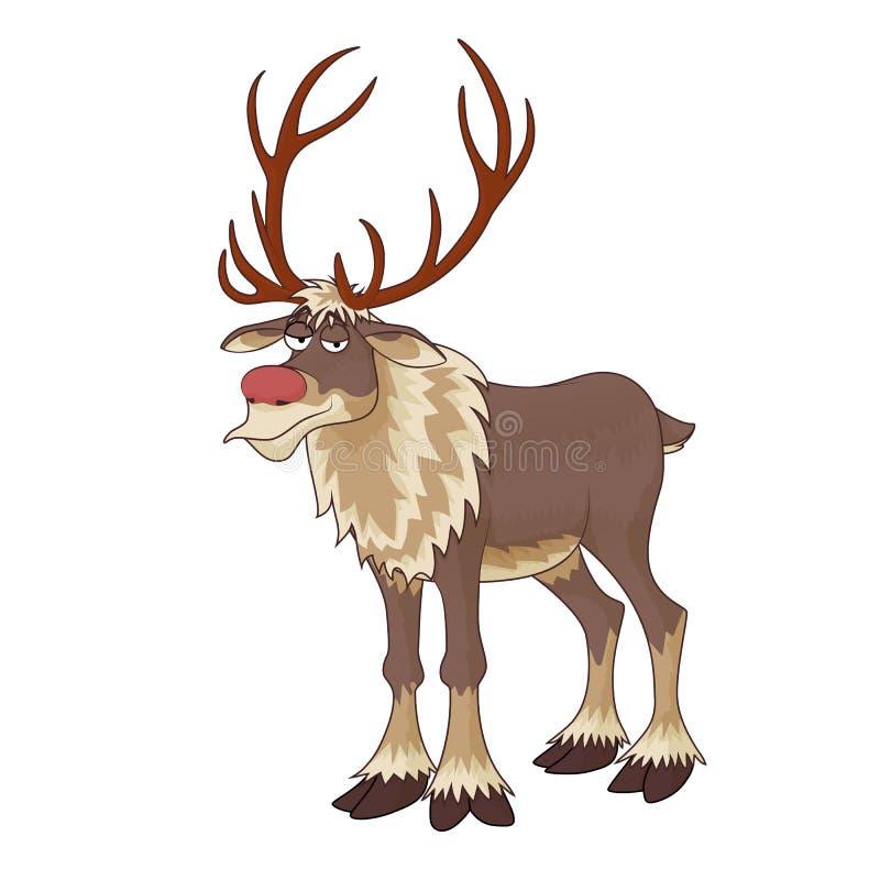 Weihnachtsrotes Nasenren Rudolph mit unergründlicher Lächelnvektorillustration auf weißem Hintergrund vektor abbildung