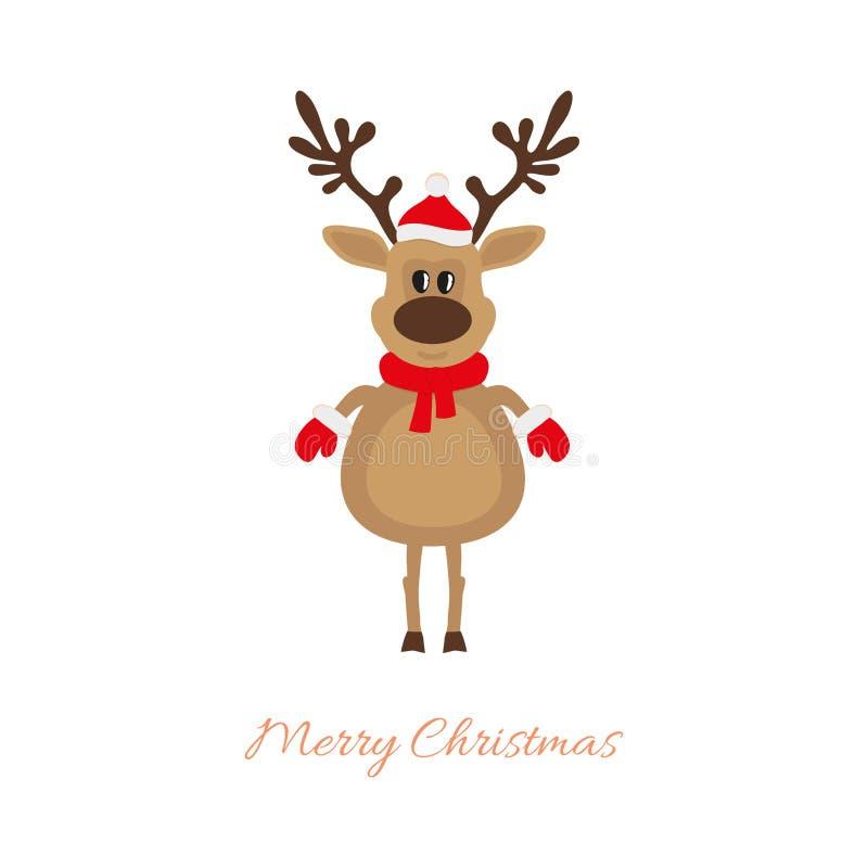 Weihnachtsrotwild auf einem weißen Hintergrund stock abbildung