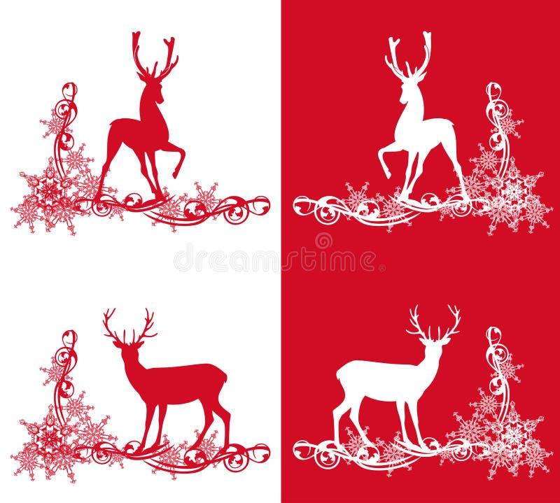 Weihnachtsrotwild eingestellt lizenzfreie abbildung