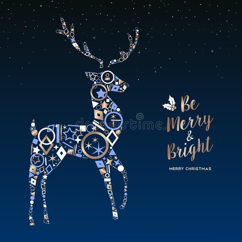 Weihnachtsrotwild gemacht von der kupfernen Ikonengrußkarte lizenzfreie abbildung