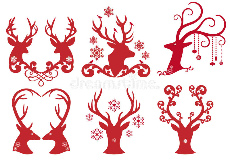 Weihnachtsrotwild-Hirschköpfe, Vektor lizenzfreie abbildung