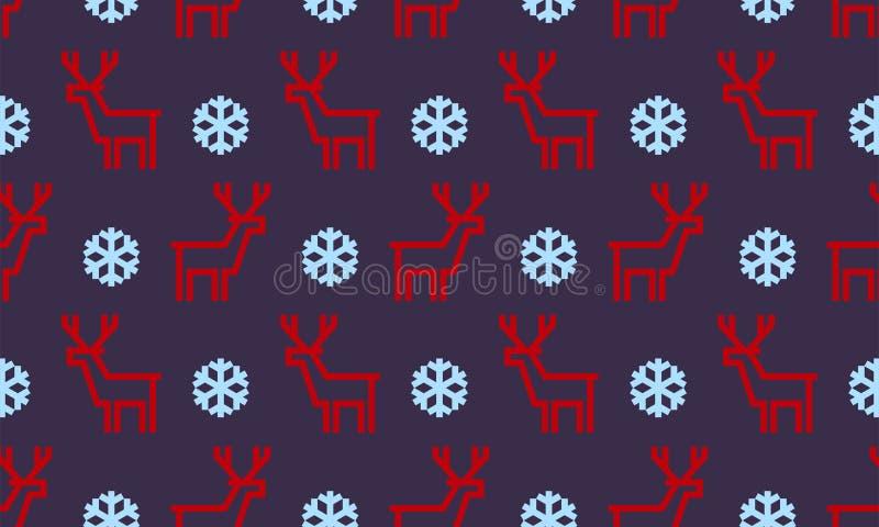 Weihnachtsrotwild und -schneeflocke vector nahtlosen Musterhintergrund für Winterurlaub vektor abbildung