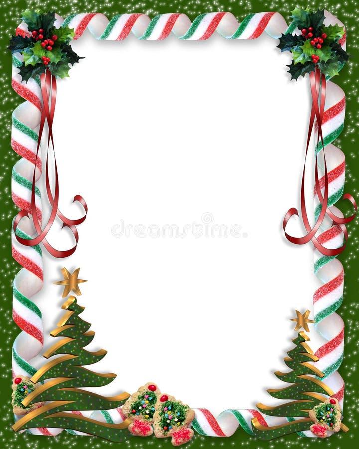Weihnachtssüßigkeit und Baumrand vektor abbildung