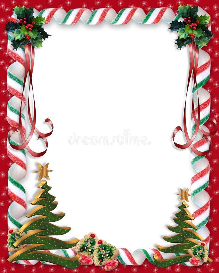 Weihnachtssüßigkeit- und -stechpalmerand vektor abbildung