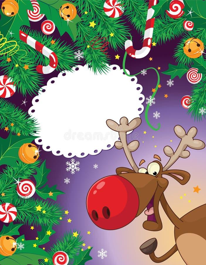Weihnachtssüßigkeitkarte und -rotwild lizenzfreie abbildung