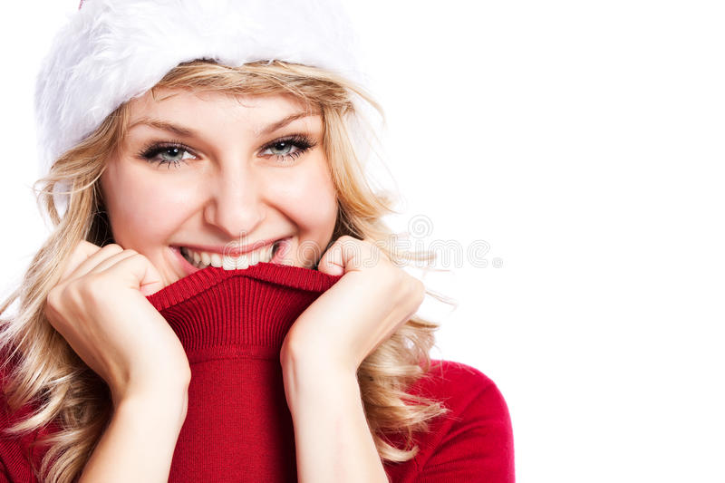 Weihnachtssankt-Mädchen lizenzfreies stockbild
