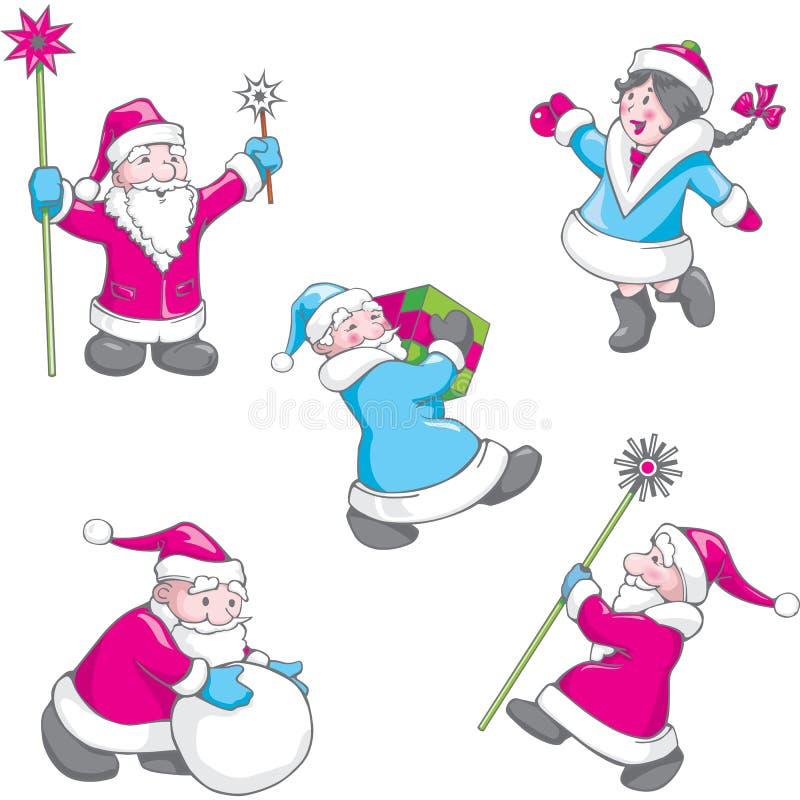 Weihnachtssatz der lustigen Karikatur Santa Claus in den verschiedenen Haltungen vektor abbildung