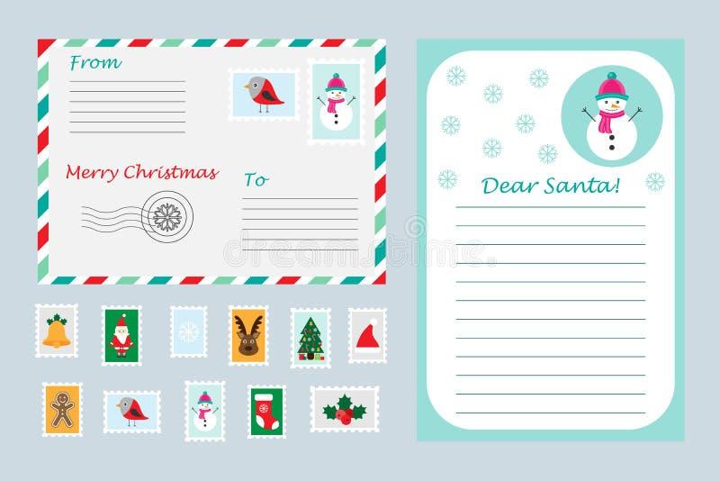 Weihnachtssatz des Buchstaben zu Santa Claus, zum Umschlag und zu den Briefmarken für Kinder, Weihnachtsspaß-Vorschultätigkeit fü lizenzfreie abbildung