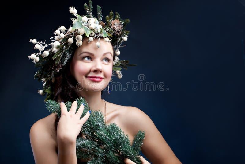 Weihnachtsschönheitsfrau Holyday bilden Falsche Wimpern, Kunst chr stockbilder