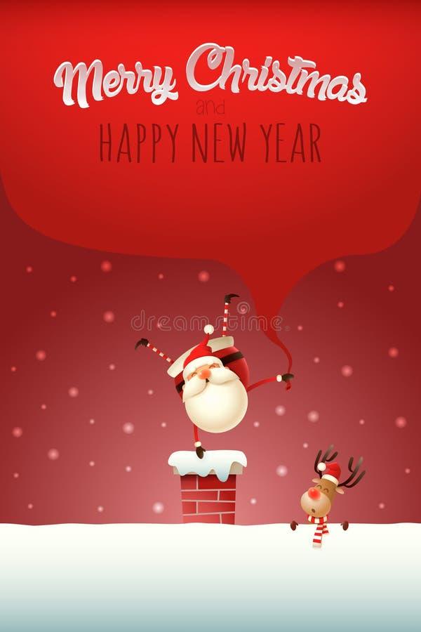 Weihnachtsschablonenplakat mit Text - glückliche Santa Claus mit Geschenken sacken auf dem Kamin einerseits stehen ein lizenzfreie abbildung