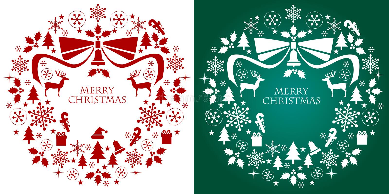 Weihnachtsschattenbild-Ansammlung Wreath stock abbildung