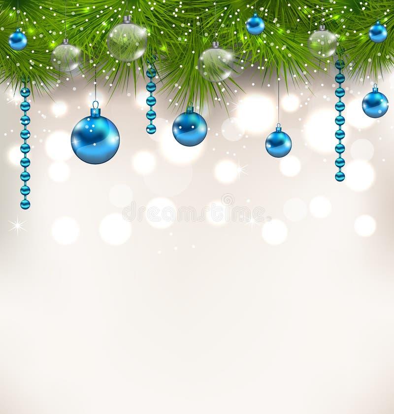 Weihnachtsschimmernder Hintergrund mit den Tannenzweigen und -Glaskugeln vektor abbildung