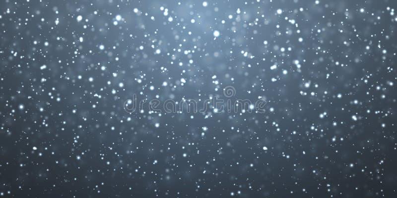 Weihnachtsschnee Fallende Schneeflocken auf dunklem Hintergrund schneef?lle Auch im corel abgehobenen Betrag vektor abbildung