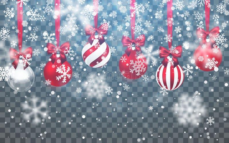 Weihnachtsschnee Fallende Schneeflocken auf dunklem Hintergrund schneef?lle Hintergrund des neuen Jahres mit Weihnachtsball Auch  stock abbildung