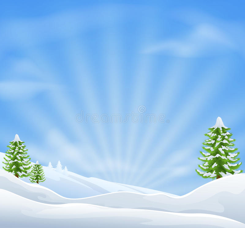 Weihnachtsschnee-Landschaftshintergrund stock abbildung
