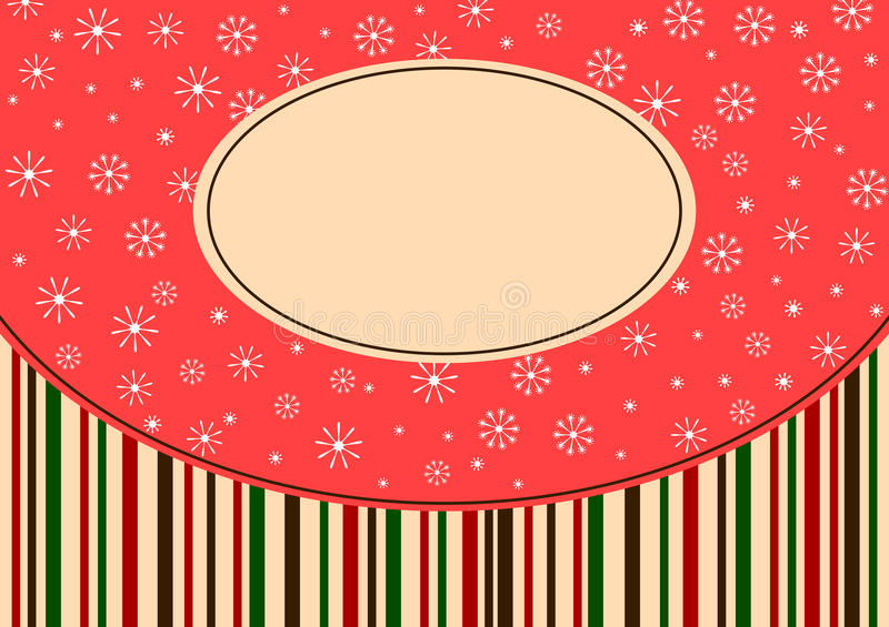 Weihnachtsschneeflocke- und -streifengrußkarte stock abbildung