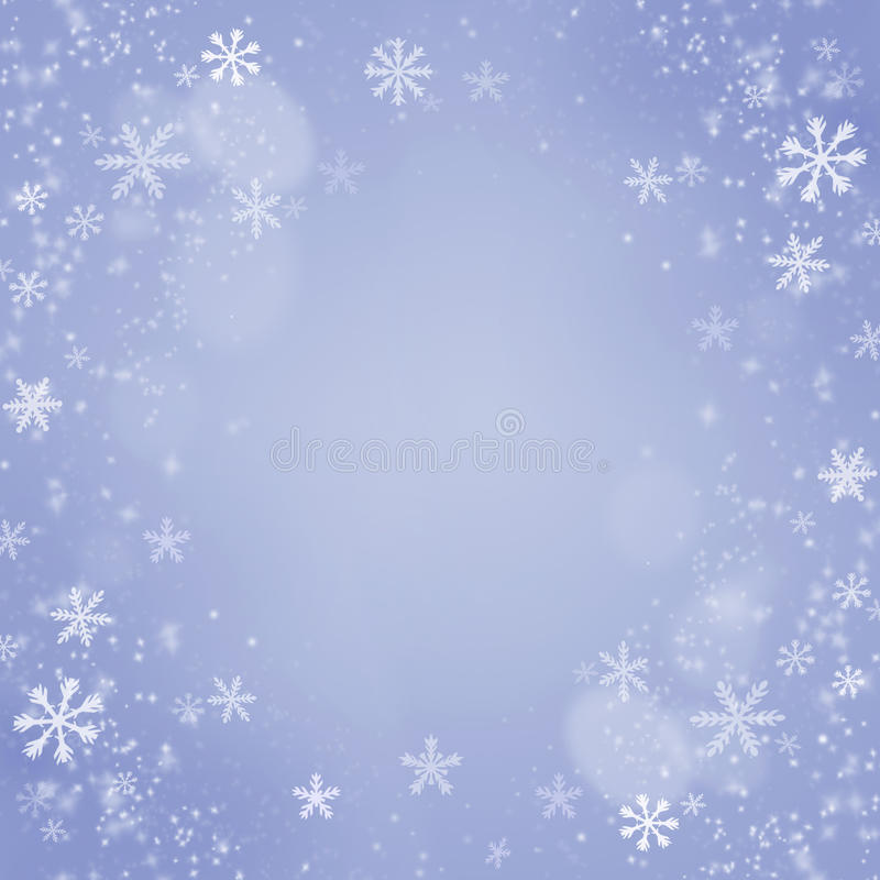 Weihnachtsschneeflocken-Hintergrund. Feiertags-Blau-Karte lizenzfreies stockfoto