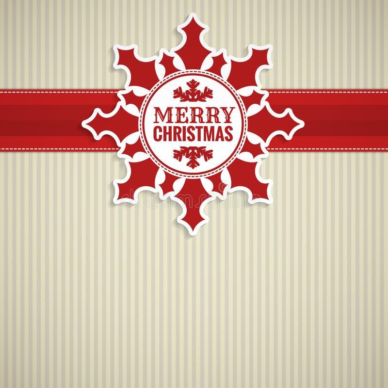 Weihnachtsschneeflocken-Weinlesekarte lizenzfreie abbildung