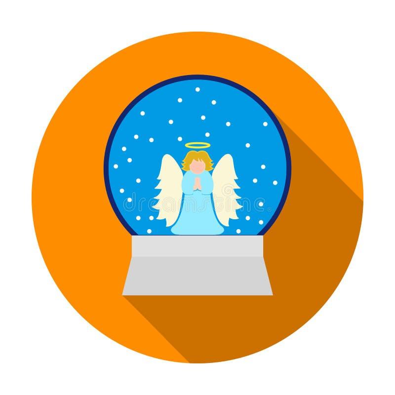 Weihnachtsschneekugel mit einer Engelsikone in der flachen Art lokalisiert auf weißem Hintergrund Weihnachtstagessymbolvorratvekt lizenzfreie abbildung