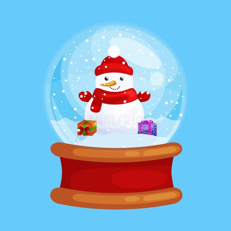 Weihnachtsschneemann halten vorhanden im Kugelglas für Weihnachten, Winterurlaubdekoration, weiß im Hut und im Schal stock abbildung