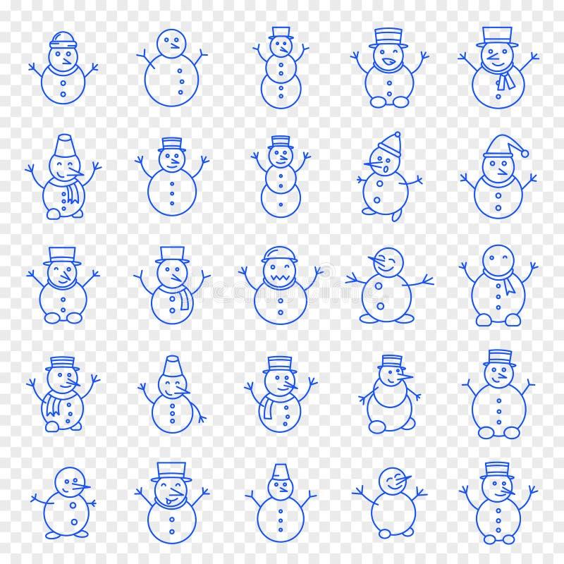 Weihnachtsschneemann-Ikonensatz lizenzfreie abbildung