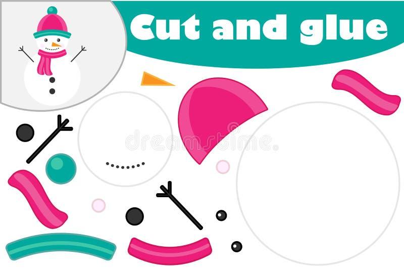 Weihnachtsschneemann-Karikaturart, Ausbildungsspiel für die Entwicklung von Vorschulkindern, Gebrauchsscheren und Kleber, zum des stock abbildung