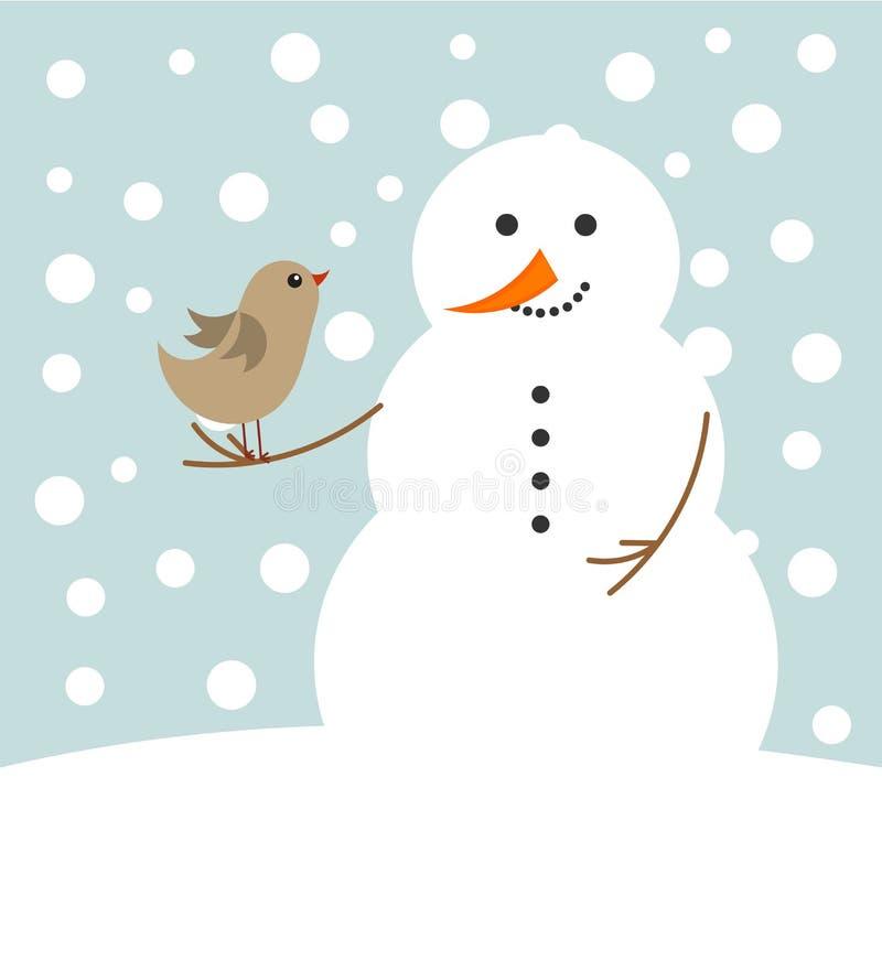 WeihnachtsSchneemann und -vogel stock abbildung