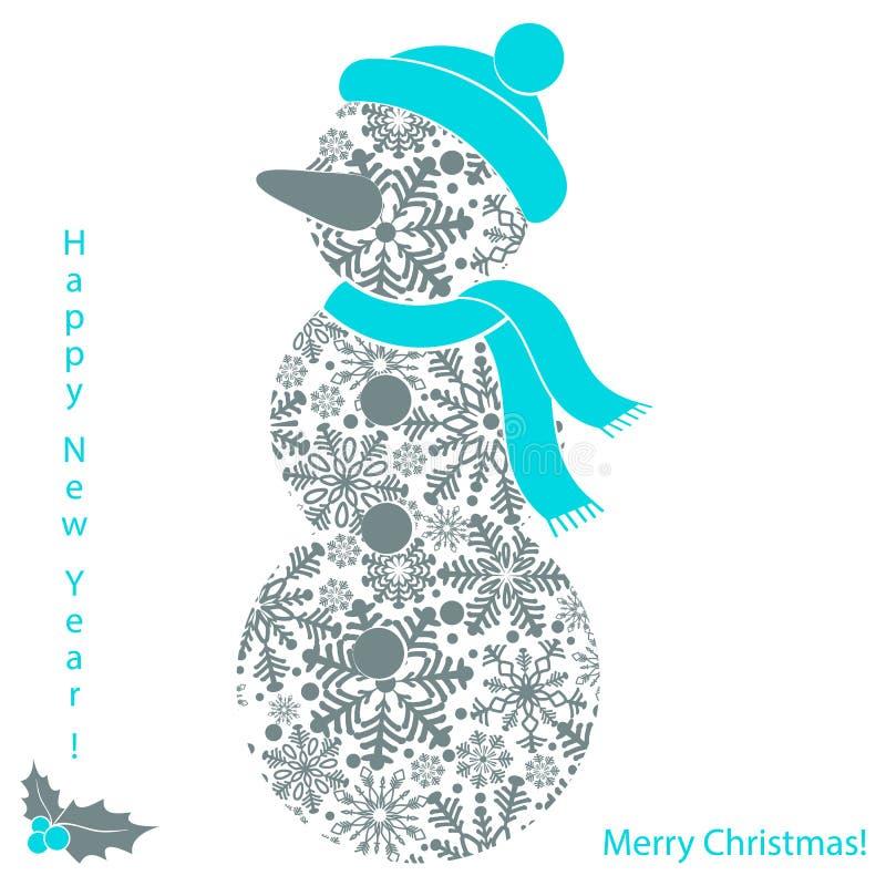 Weihnachtsschneemann von den Schneeflocken lokalisiert auf weißem Hintergrund, Karte des neuen Jahres stock abbildung