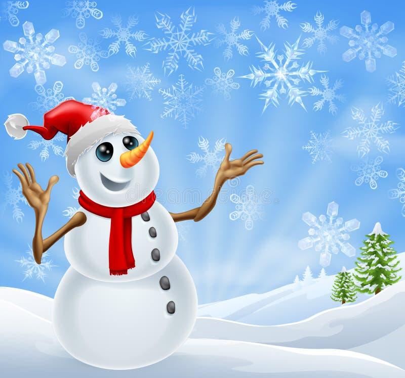WeihnachtsSchneemann-Winterlandschaft lizenzfreie abbildung