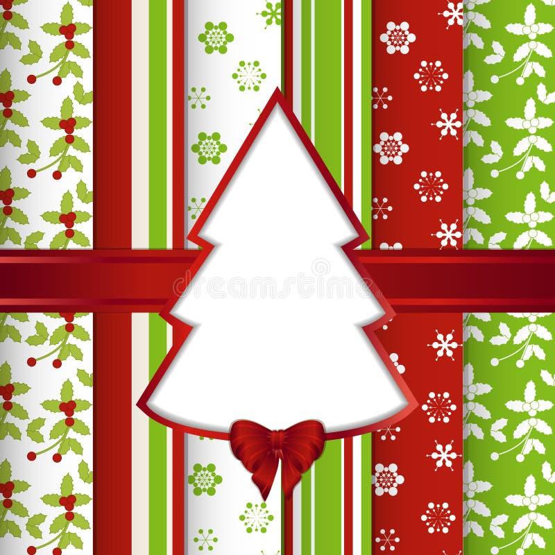 Weihnachtsschrott-Buchhintergrund mit herausgeschnittenem Baum stock abbildung