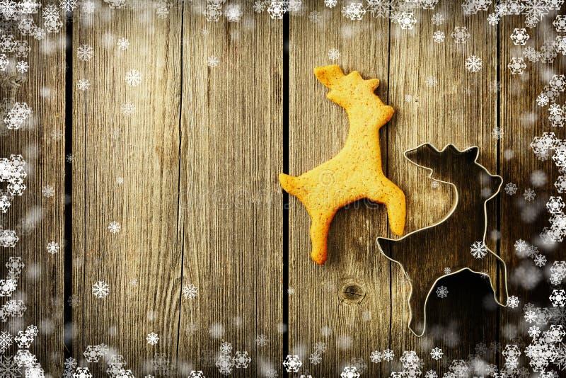 Weihnachtsselbst gemachtes Lebkuchen-Rotwildplätzchen vektor abbildung