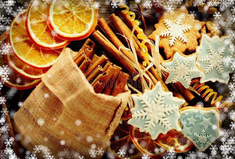 Weihnachtsselbst gemachtes Lebkuchenplätzchen und -gewürze vektor abbildung