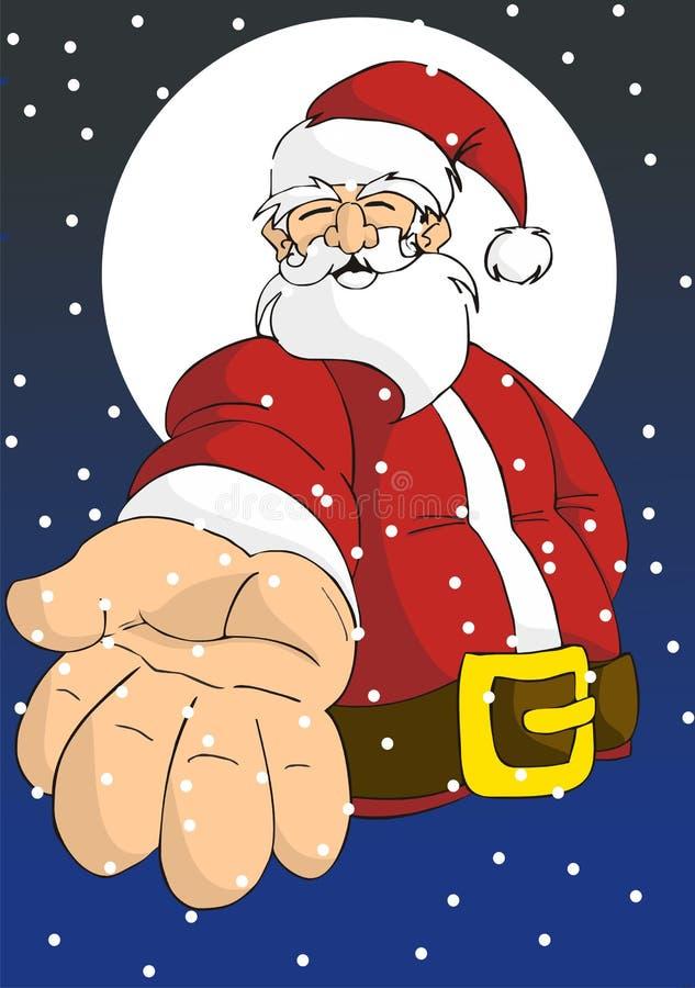 Weihnachtsserie: Glückliche Sankt, die Hand gibt vektor abbildung