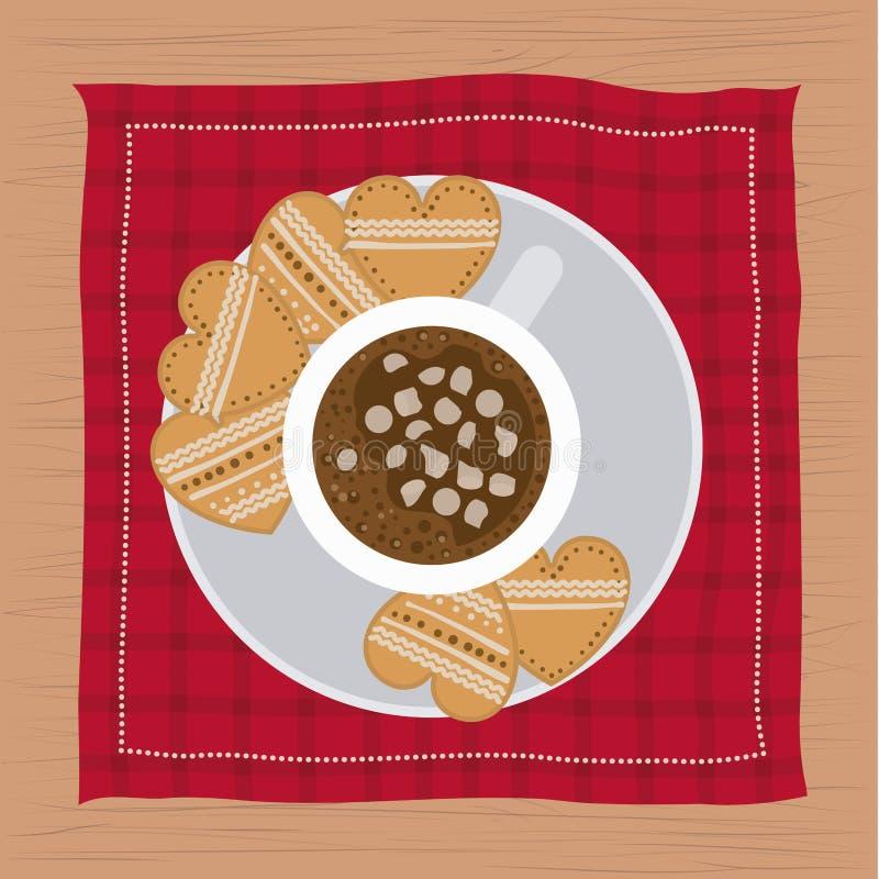 Weihnachtsserviette mit Teller- und Plätzchenform des Herzens und der Schale Schokolade lizenzfreie abbildung