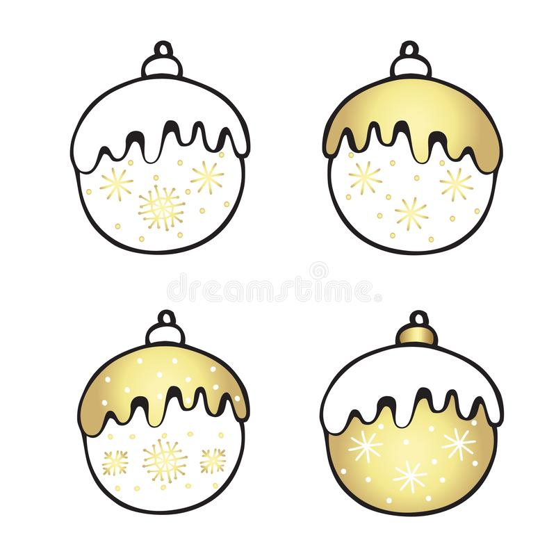 Weihnachtsset, Silvesterschilder, Zubehör Vector Cartoon Abbildung von vier Kugeln stock abbildung