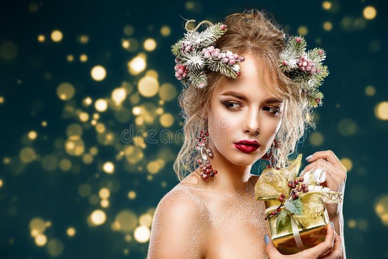 Weihnachtssexy Dame stockbilder