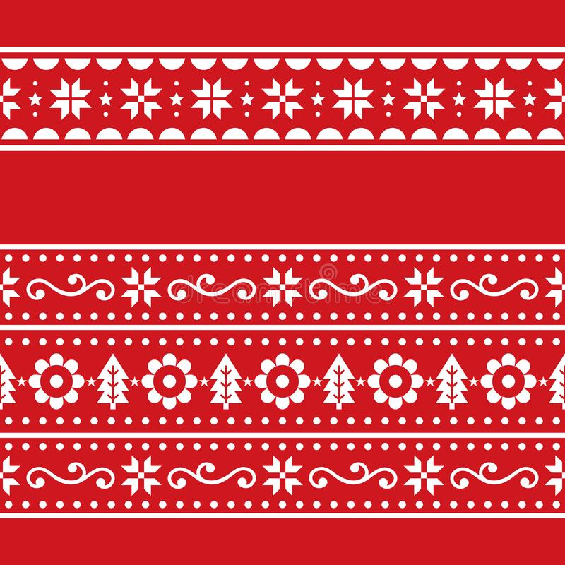 Weihnachtsskandinavain Folklorevektor repetitive nahtlose Muster Set, Nordic festive zwei repetitive Designs mit Schneeflocken, F lizenzfreie abbildung